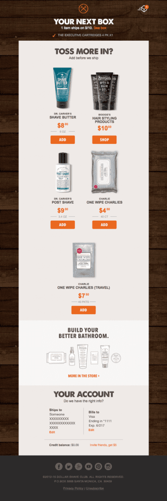 the dollar shave email marketing