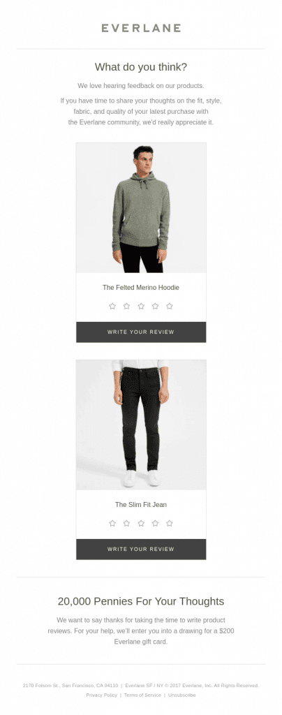 Everlane email campaigns