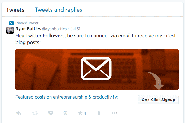 how to boost email subscriptions on Twitter