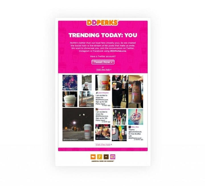Dunkin integrating email with social media marketing