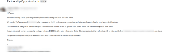 example of cold email