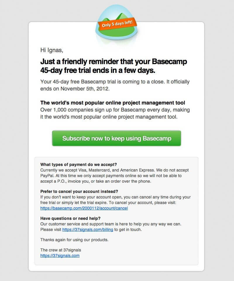 saas email marketing template